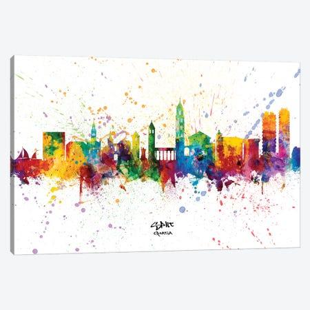 Split Croatia Skyline Splash Canvas Print #MTO2325} by Michael Tompsett Canvas Wall Art
