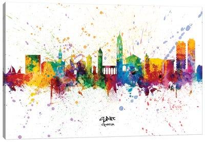 Split Croatia Skyline Splash Canvas Art Print