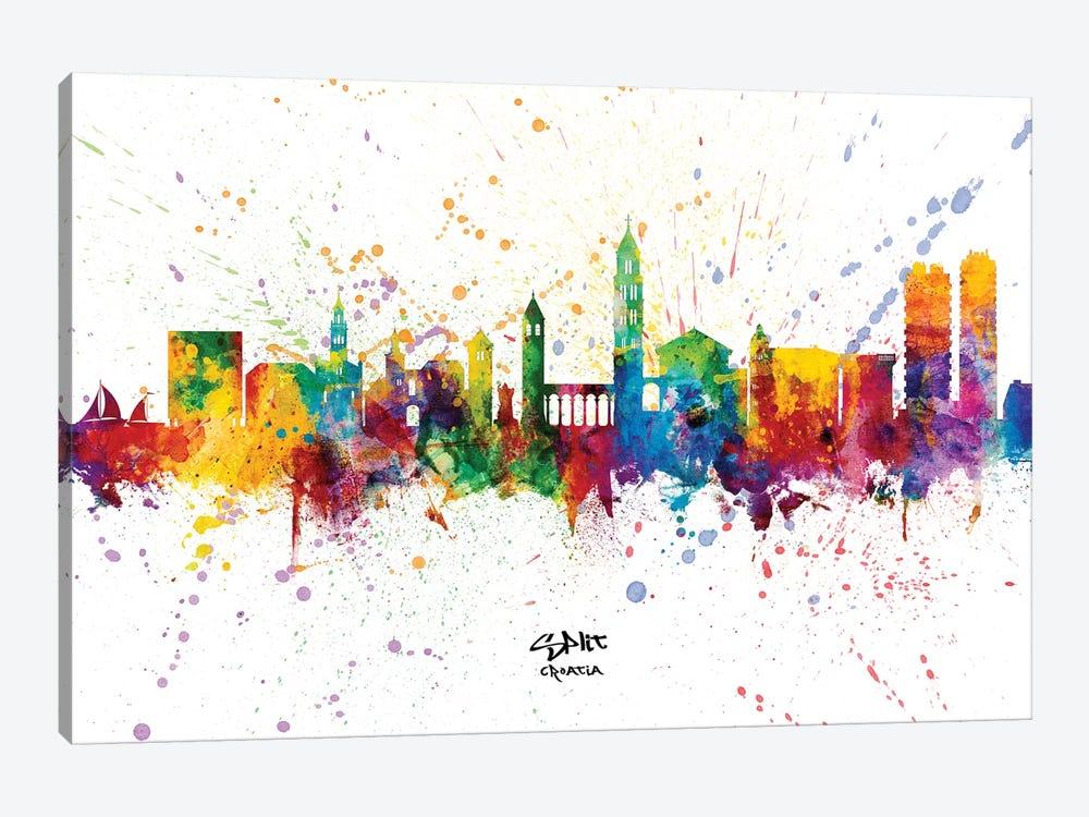 Split Croatia Skyline Splash by Michael Tompsett 1-piece Canvas Wall Art