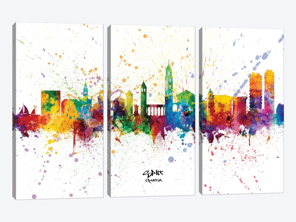 Split Croatia Skyline Splash by Michael Tompsett 3-piece Canvas Artwork