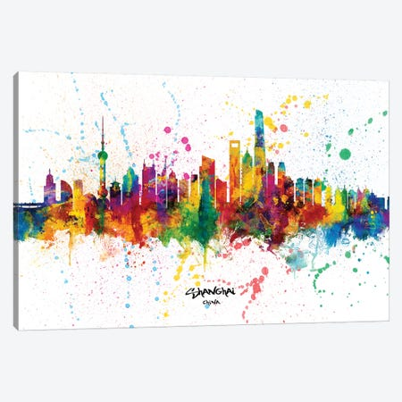 Shanghai China Skyline Splash Canvas Print #MTO2326} by Michael Tompsett Canvas Artwork