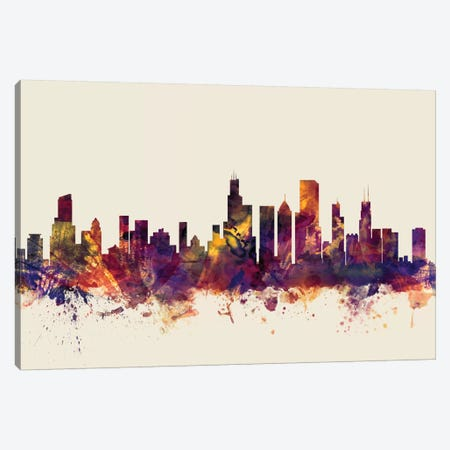 Chicago, Illinois, USA On Beige Canvas Print #MTO232} by Michael Tompsett Canvas Artwork