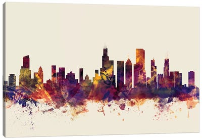 Skyline Series: Chicago, Illinois, USA On Beige Canvas Print #MTO232