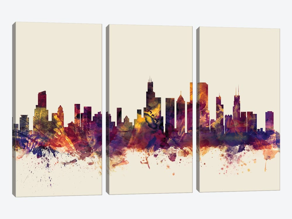 Skyline Series: Chicago, Illinois, USA On Beige by Michael Tompsett 3-piece Canvas Print