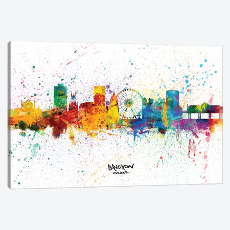 Brighton England Skyline Splash Canvas Print #MTO2330} by Michael Tompsett Canvas Wall Art
