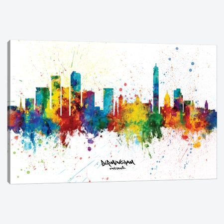 Birmingham England Skyline Splash Canvas Print #MTO2332} by Michael Tompsett Canvas Art