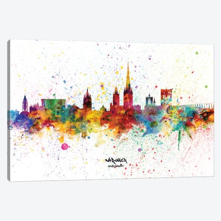 Norwich England Skyline Splash Canvas Print #MTO2334} by Michael Tompsett Canvas Print