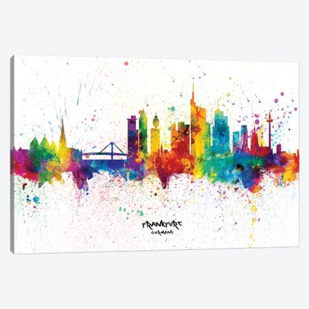 Frankfurt Germany Skyline Splash 3-Piece Canvas #MTO2337} by Michael Tompsett Canvas Art Print