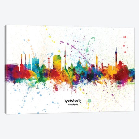 Hannover Germany Skyline Splash Canvas Print #MTO2338} by Michael Tompsett Canvas Artwork
