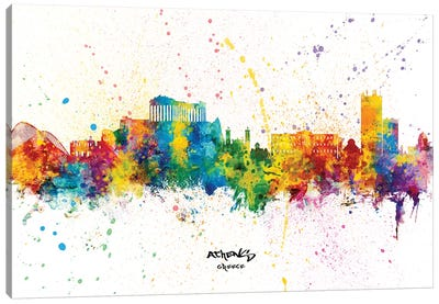 Athens Greece Skyline Splash Canvas Art Print