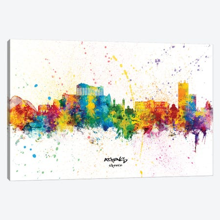 Athens Greece Skyline Splash Canvas Print #MTO2339} by Michael Tompsett Canvas Wall Art