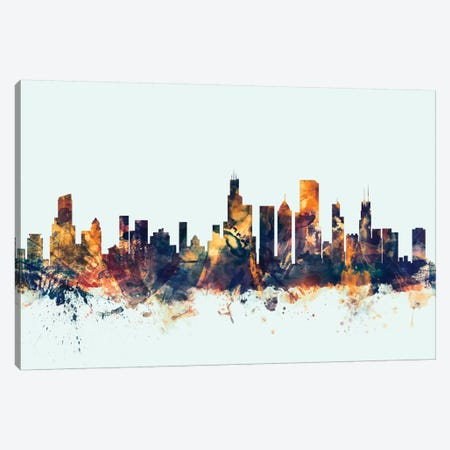 Chicago, Illinois, USA On Blue Canvas Print #MTO233} by Michael Tompsett Canvas Art