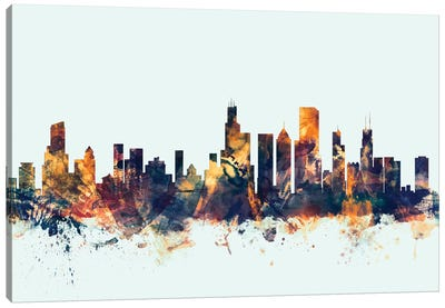 Chicago, Illinois, USA On Blue Canvas Art Print