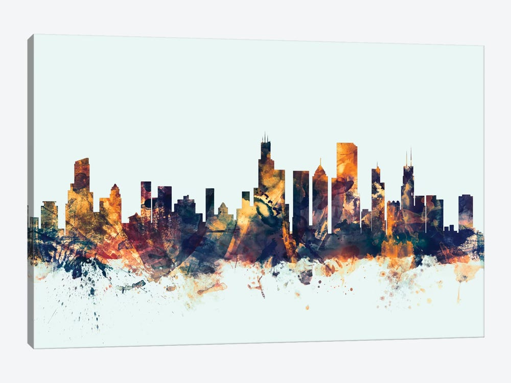 Chicago, Illinois, USA On Blue by Michael Tompsett 1-piece Canvas Art