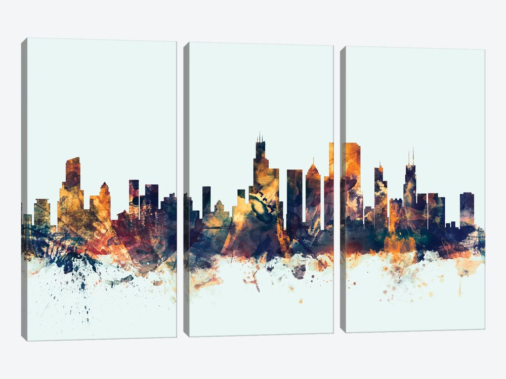 Skyline Series: Chicago, Illinois, USA On Blue by Michael Tompsett 3-piece Canvas Wall Art