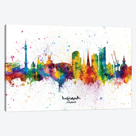 Dortmund Germany Skyline Splash Canvas Print #MTO2340} by Michael Tompsett Art Print
