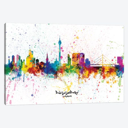 Dusseldorf Germany Skyline Splash Canvas Print #MTO2341} by Michael Tompsett Canvas Art Print