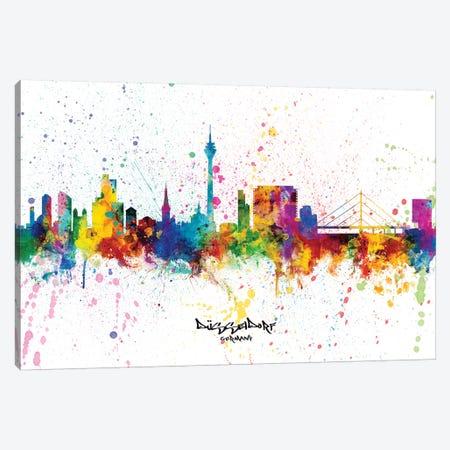 Dusseldorf Germany Skyline Splash Canvas Print #MTO2341} by Michael Tompsett Canvas Art Print