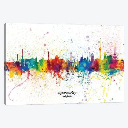 Stuttgart Germany Skyline Splash Canvas Print #MTO2342} by Michael Tompsett Canvas Print
