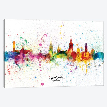 Stockholm Sweden Skyline Splash 3-Piece Canvas #MTO2343} by Michael Tompsett Canvas Art Print