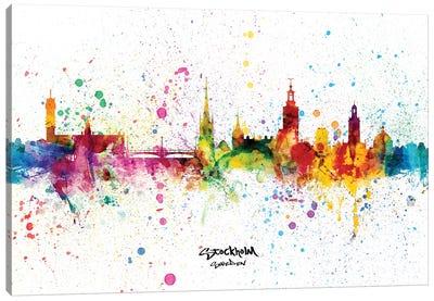 Stockholm Sweden Skyline Splash Canvas Art Print