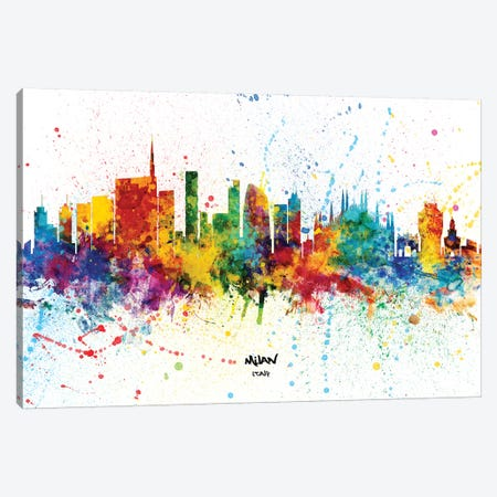 Milan Italy Skyline Splash Canvas Print #MTO2344} by Michael Tompsett Canvas Artwork