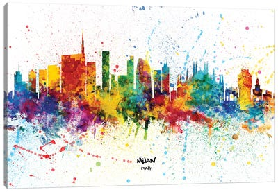 Milan Italy Skyline Splash Canvas Art Print