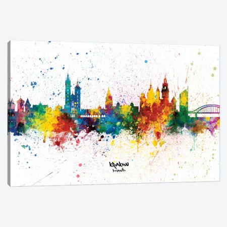 Krakow Poland Skyline Splash Canvas Print #MTO2345} by Michael Tompsett Canvas Artwork