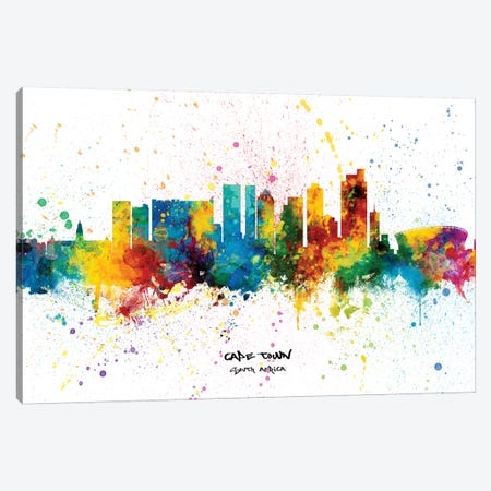 Cape Town South Africa Skyline Splash Canvas Print #MTO2347} by Michael Tompsett Canvas Art