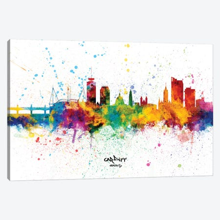 Cardiff Wales Skyline Splash Canvas Print #MTO2348} by Michael Tompsett Canvas Print