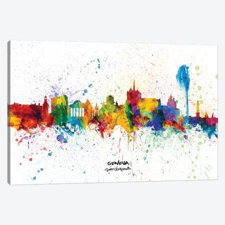 Geneva Switzerland Skyline Splash Canvas Print #MTO2349} by Michael Tompsett Art Print