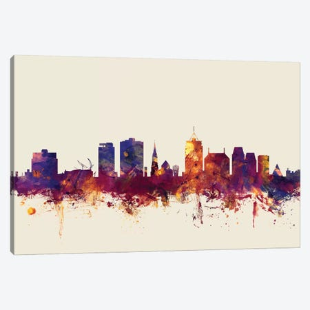 Christchurch, New Zealand On Beige Canvas Print #MTO234} by Michael Tompsett Art Print