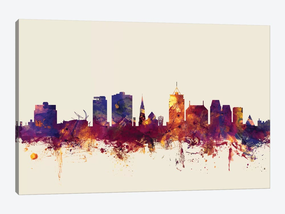 Skyline Series: Christchurch, New Zealand On Beige by Michael Tompsett 1-piece Canvas Art Print