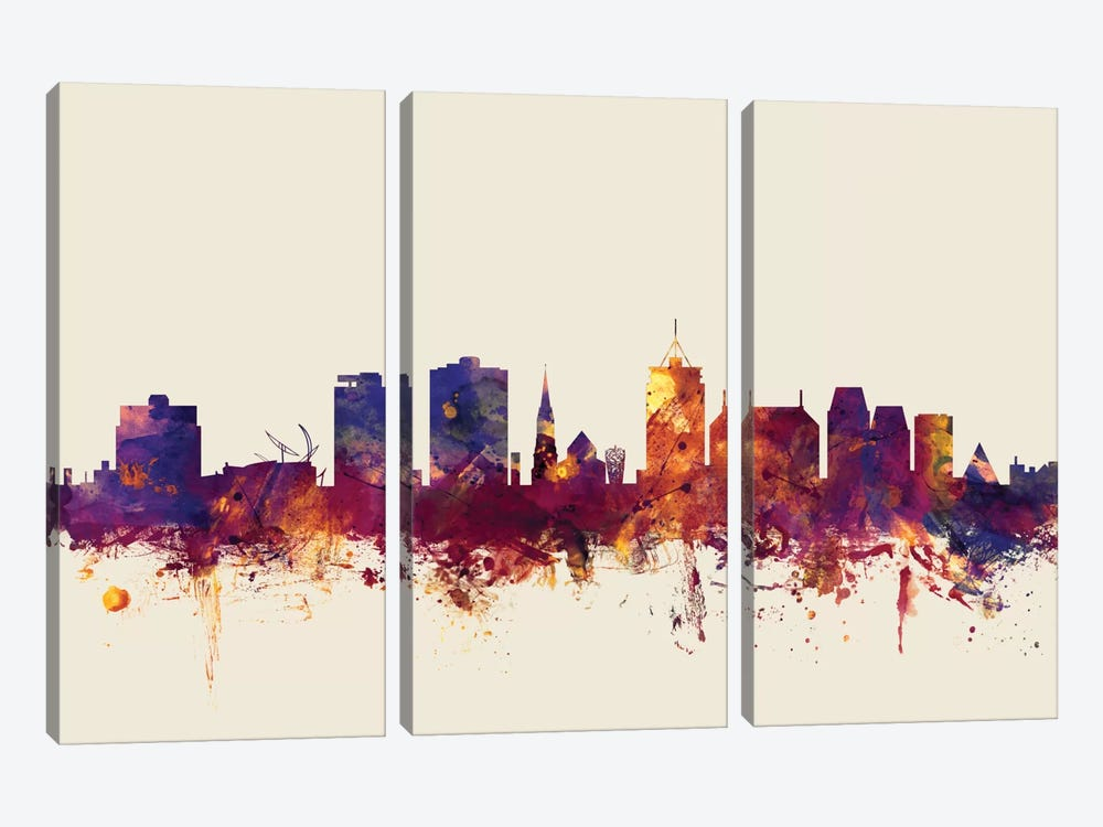 Skyline Series: Christchurch, New Zealand On Beige by Michael Tompsett 3-piece Canvas Art Print