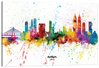 Mumbai India Skyline Splash Canvas Art Print