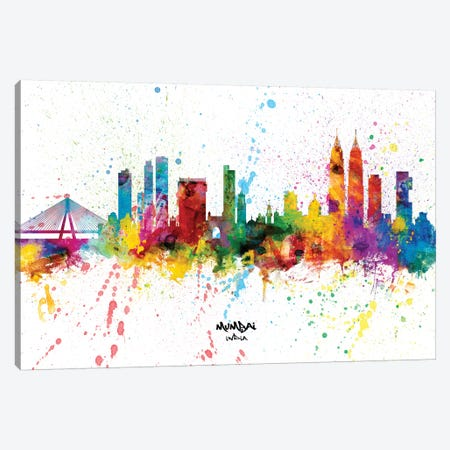 Mumbai India Skyline Splash Canvas Print #MTO2350} by Michael Tompsett Canvas Wall Art