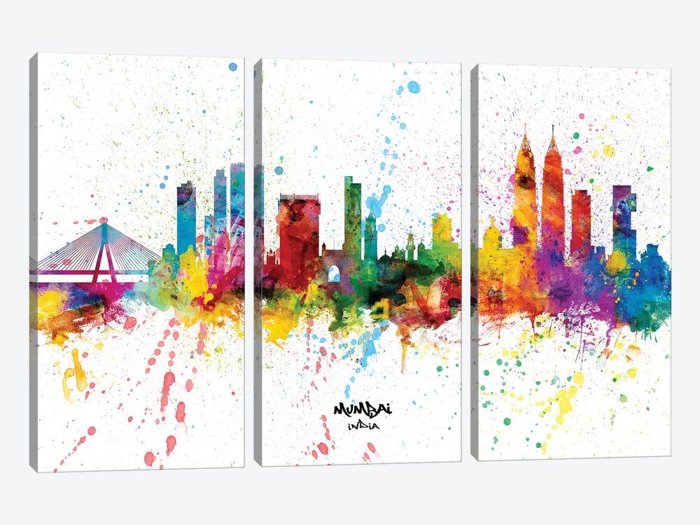 Mumbai India Skyline Splash by Michael Tompsett 3-piece Canvas Wall Art
