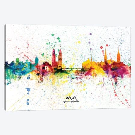 Zurich Switzerland Skyline Splash Canvas Print #MTO2351} by Michael Tompsett Canvas Wall Art