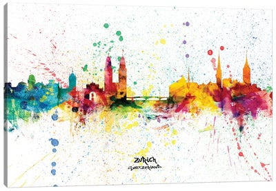 Zurich Switzerland Skyline Splash Canvas Art Print