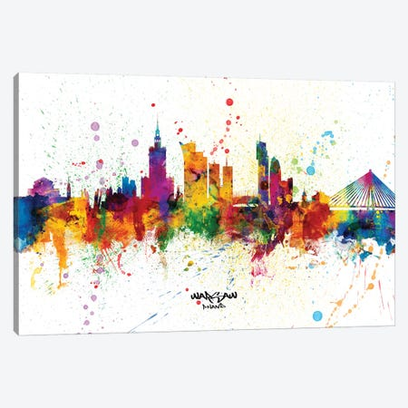 Warsaw Poland Skyline Splash Canvas Print #MTO2352} by Michael Tompsett Canvas Artwork