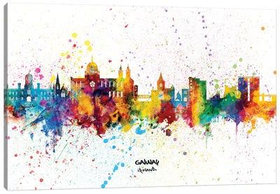Galway Ireland Skyline Splash Canvas Art Print