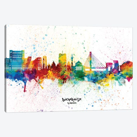 Bucharest Romania Skyline Splash Canvas Print #MTO2363} by Michael Tompsett Art Print