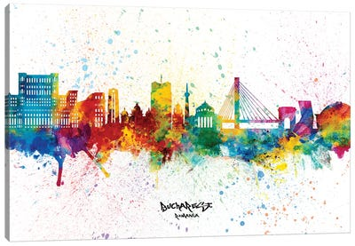 Bucharest Romania Skyline Splash Canvas Art Print