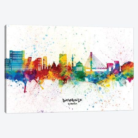 Bucharest Romania Skyline Splash Canvas Print #MTO2363} by Michael Tompsett Art Print