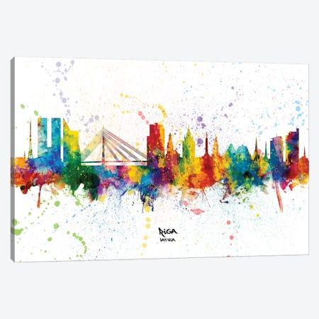 Riga Latvia Skyline Splash Canvas Print #MTO2364} by Michael Tompsett Canvas Art