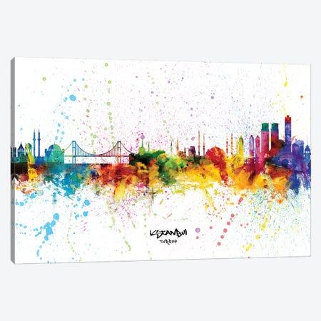 Istanbul Turkey Skyline Splash Canvas Print #MTO2368} by Michael Tompsett Canvas Art Print