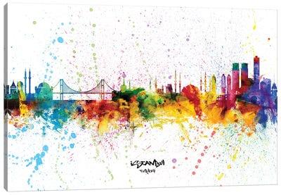 Istanbul Turkey Skyline Splash Canvas Art Print
