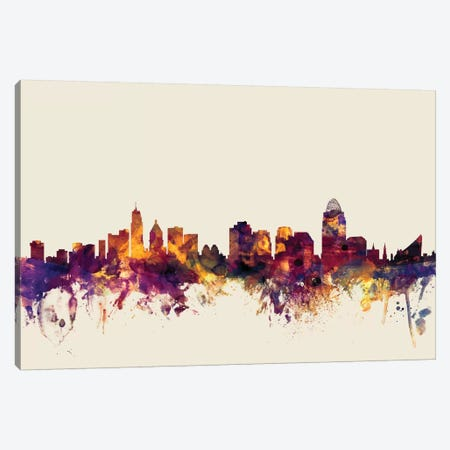 Cincinnati, Ohio, USA On Beige Canvas Print #MTO236} by Michael Tompsett Art Print