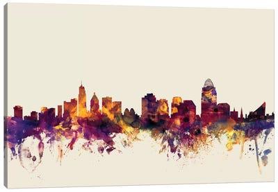 Skyline Series: Cincinnati, Ohio, USA On Beige Canvas Print #MTO236