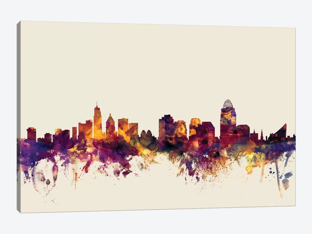 Skyline Series: Cincinnati, Ohio, USA On Beige by Michael Tompsett 1-piece Art Print